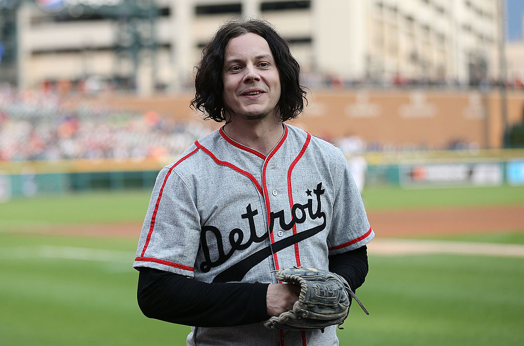 DETROIT, MI - JULY 29:  Musician and former Detroit native Jack White throws out the first pitch prior to the start of the ga