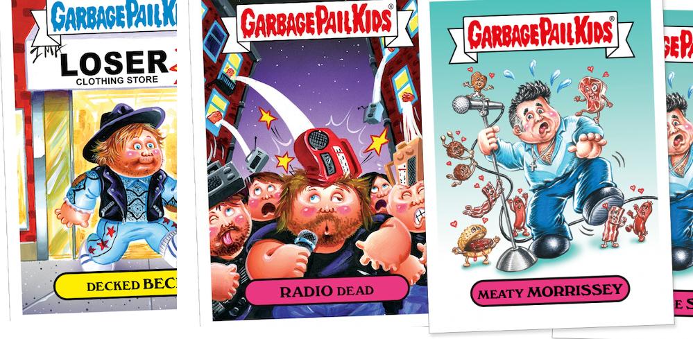 """Beck, Radiohead und Morrissey als """"Garbage Pail Kids""""-Sticker"""