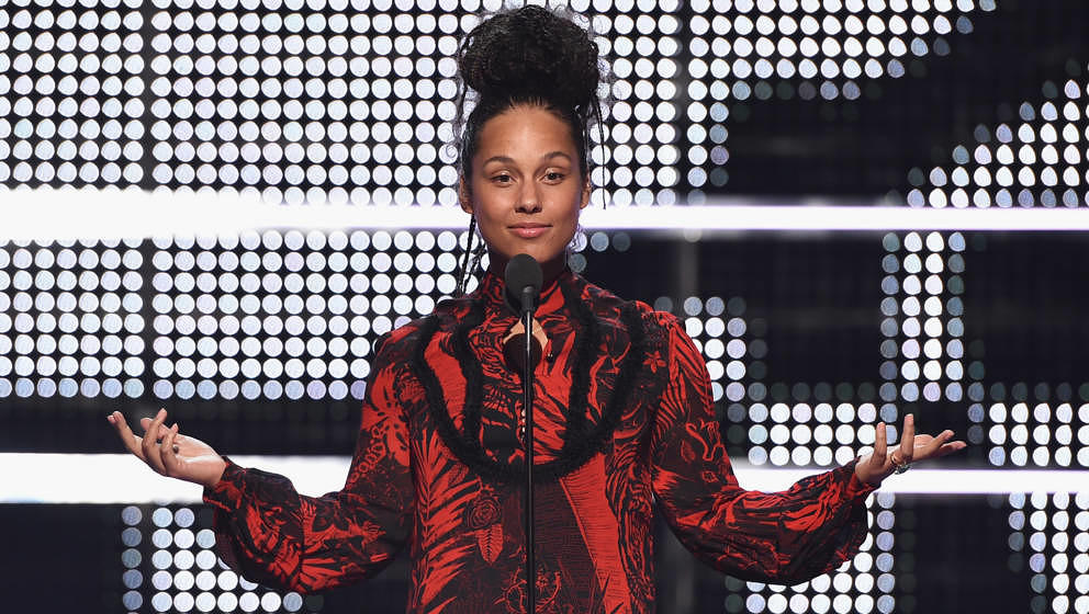 NEW YORK, NY - AUGUST 28:  Alicia Keys speaks onstage during the 2016 MTV Music Video Awards at Madison Square Gareden on Aug