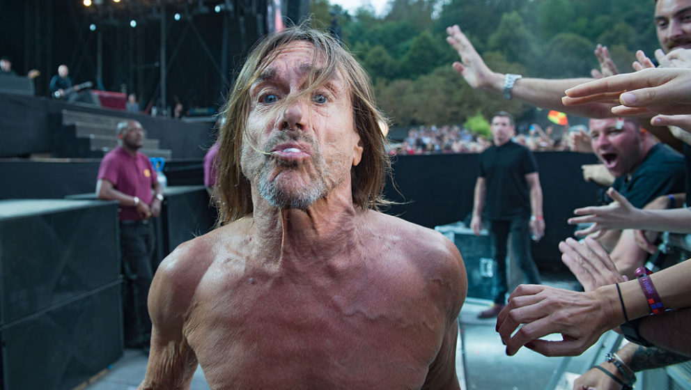 PARIS, FRANCE - AUGUST 28:  Iggy Pop approaches and spit into camera at Rock en Seine on August 28, 2016 in Paris, France.  (