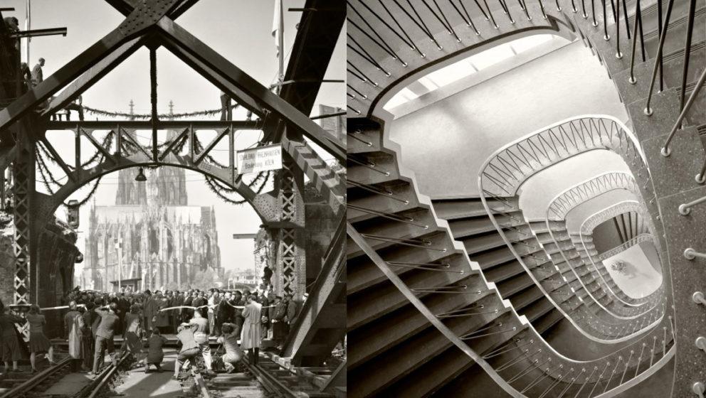 Links: Einweihung der Hohenzollernbrücke, Köln, 1948. Rechts: Treppenhaus in Köln, 1952.