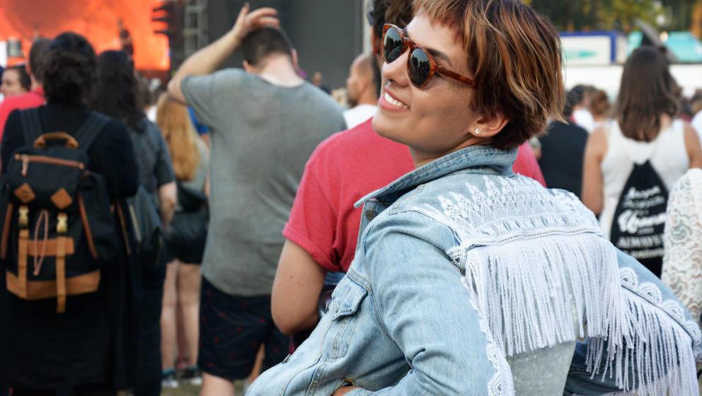 Unsere Autorin Helene Halben mit fescher Selfmade-Jacke.