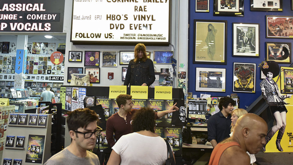 HOLLYWOOD, CA - JUNE 08:  Fans gather during the release of the complete first season of HBO's 'Vinyl' on DVD and Blu-ray at