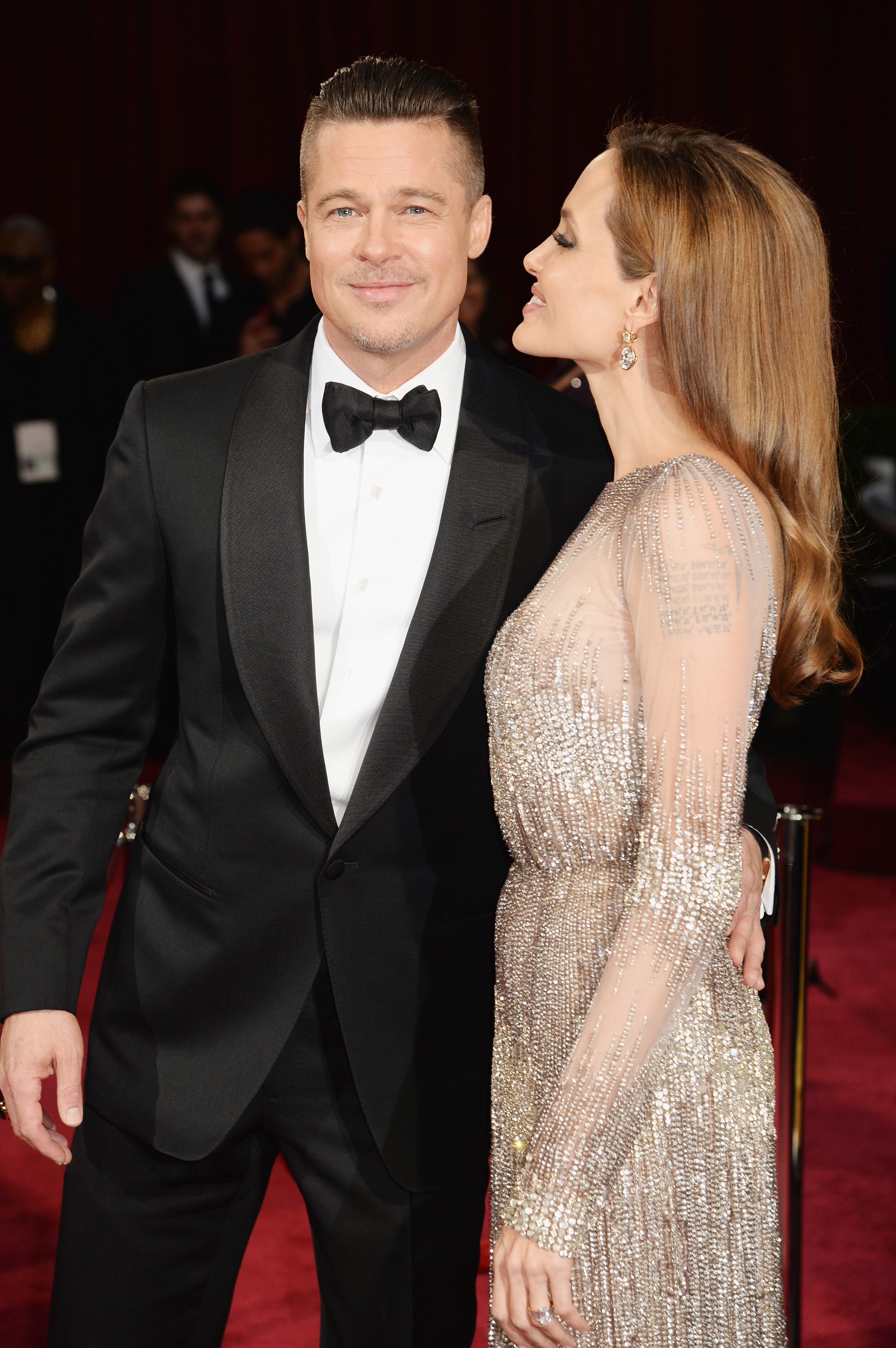 HOLLYWOOD, CA - MARCH 02: Actor/producer Brad Pitt and actress Angelina Jolie attend the Oscars held at Hollywood & Highland Center on March 2, 2014 in Hollywood, California. (Photo by Jeff Kravitz/FilmMagic)
