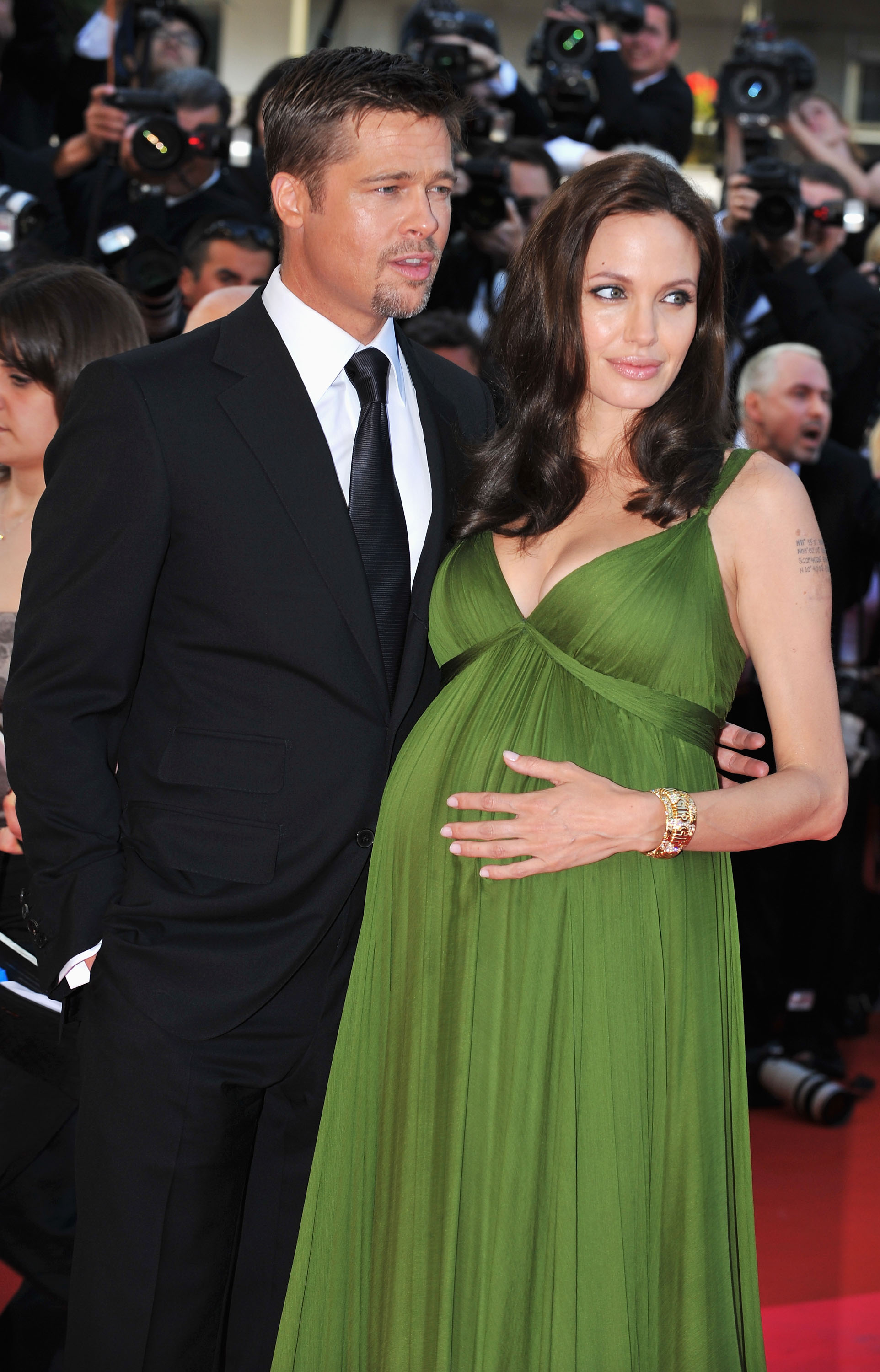 """CANNES, FRANCE - MAY 15: Actors Brad Pitt and Angelina Jolie attend the """"Kung Fu Panda"""" premiere at the Palais des Festivals during the 61st Cannes International Film Festival on May 15, 2008 in Cannes, France. (Photo by Pascal Le Segretain/Getty Images)"""