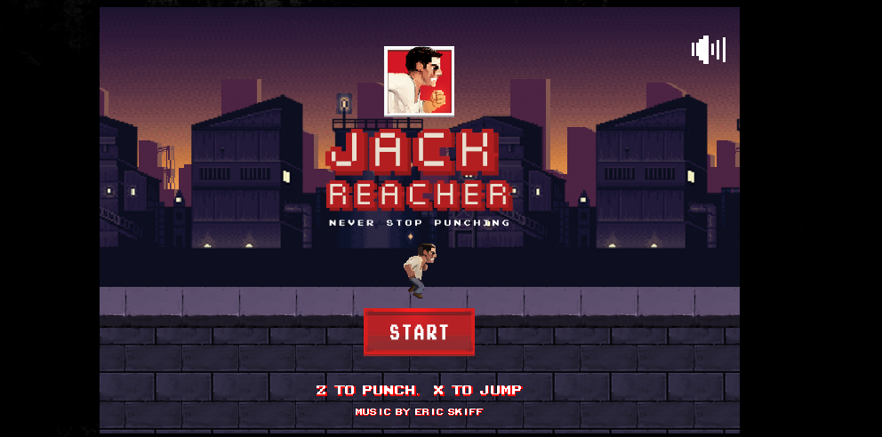 """Startseite des Videospiels """"Jack Reacher: Never Stop Punching""""."""