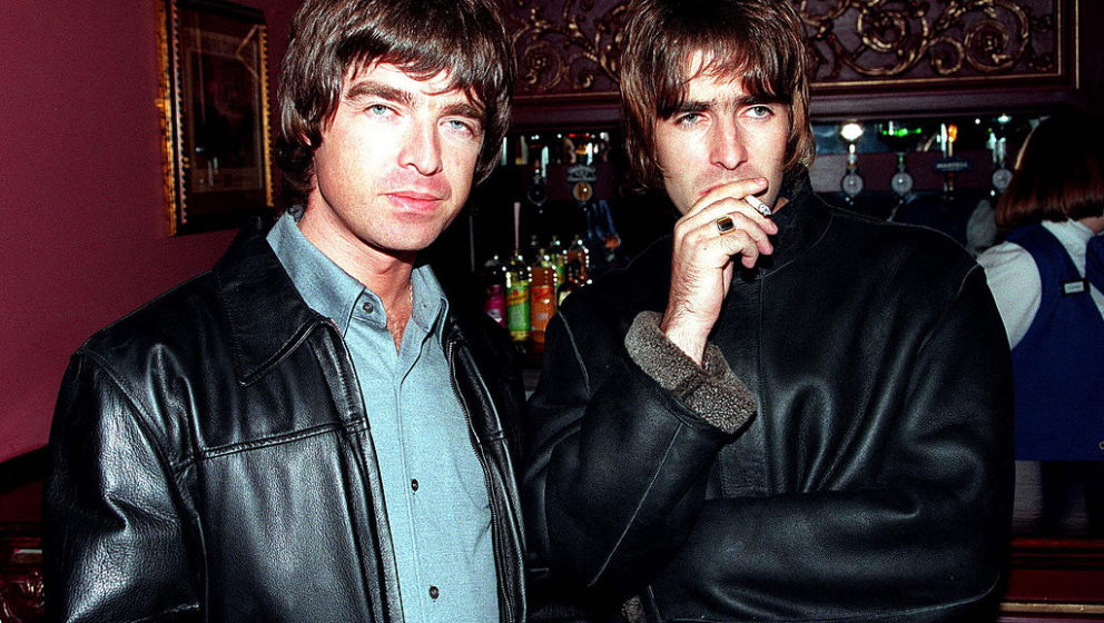 LONDON - 1995: Oasis lead singer Liam Gallagher and brother Noal Gallagher at the opening night of Steve Coogan's comedy show