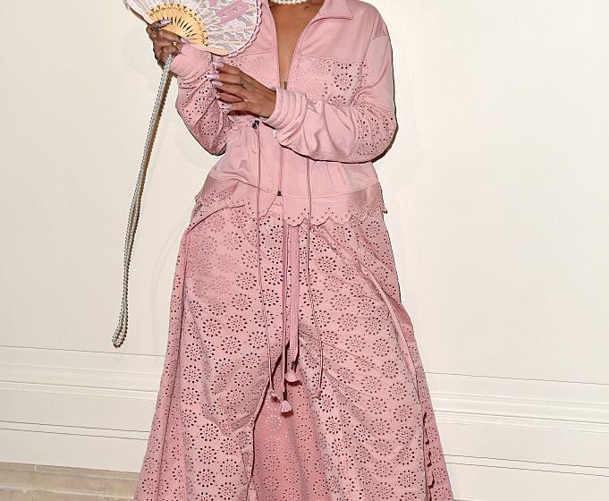 PARIS, FRANCE - SEPTEMBER 28:  Rihanna is seen backstage during FENTY x PUMA by Rihanna at Hotel Salomon de Rothschild on Sep