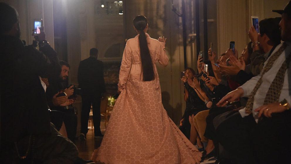 PARIS, FRANCE - SEPTEMBER 28:  Rihanna walks the runway during FENTY x PUMA by Rihanna at Hotel Salomon de Rothschild on Sept