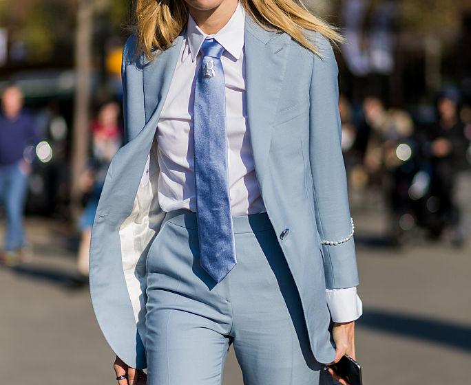 PARIS, FRANCE - OCTOBER 04: Veronika Heilbrunner wearing a blue suit with tie outside Chanel on October 4, 2016 in Paris, Fra