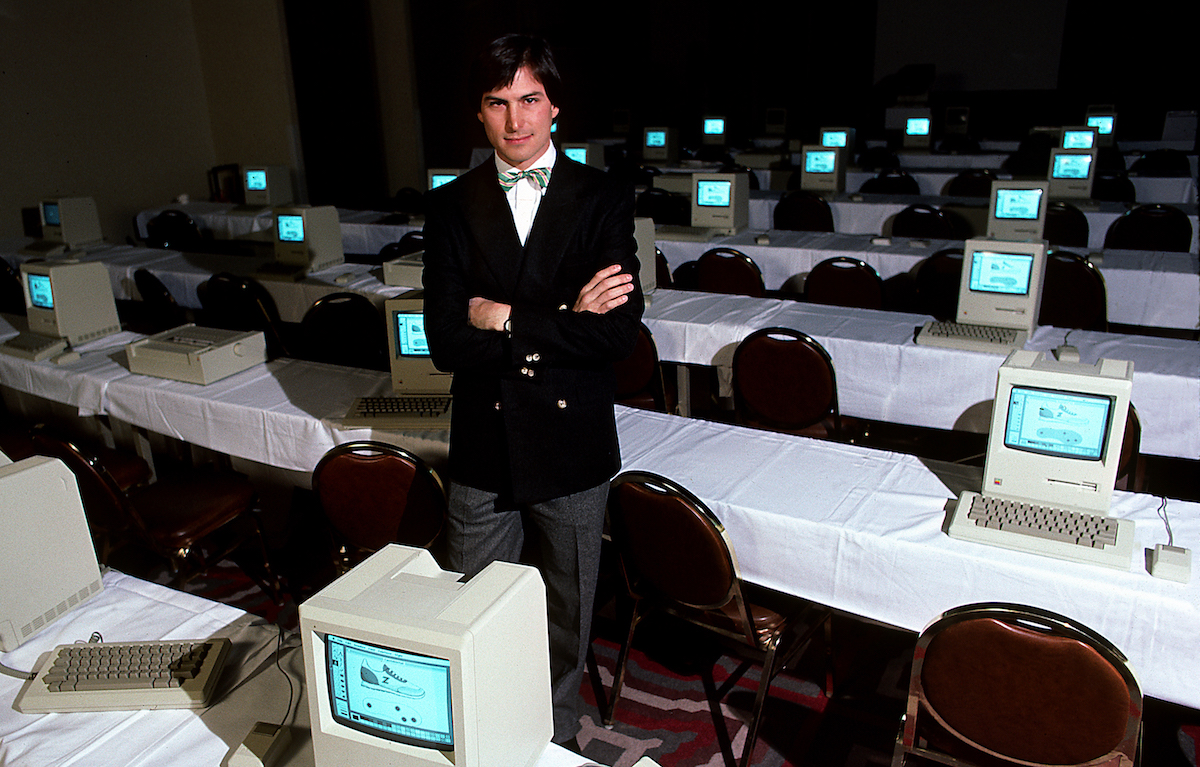 Steve Jobs with room full of computers, 1984. (Photo by Michael L Abramson/Getty Images)