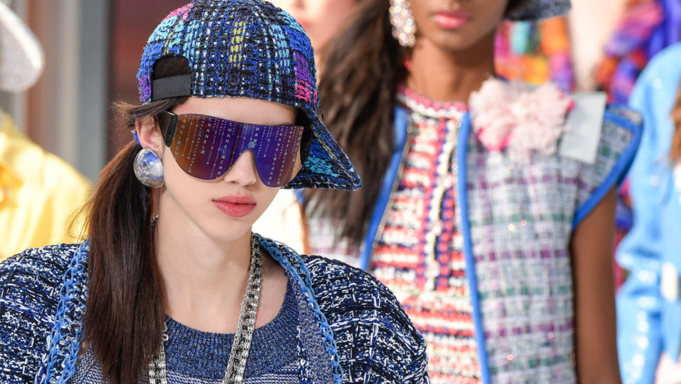 PARIS, FRANCE - OCTOBER 04:  A model walks, beauty runway detail, the runway during the Chanel show as part of the Paris Fash