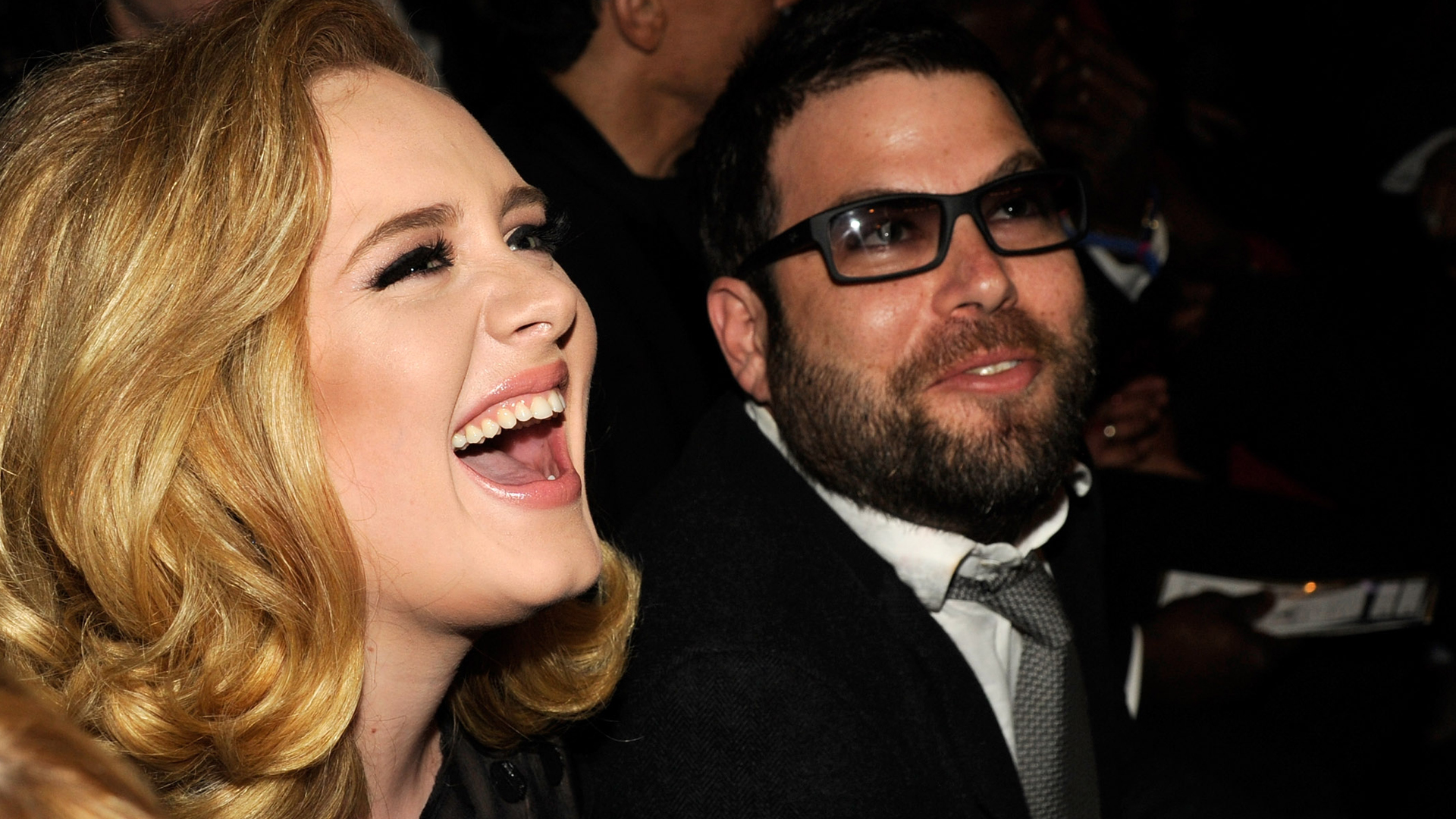 LOS ANGELES, CA - FEBRUARY 12:  Adele and Simon Konecki attend The 54th Annual GRAMMY Awards at Staples Center on February 12