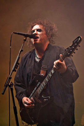 BERLIN, GERMANY - OCTOBER 18 Singer Robert James Smith of the British band The Cure performs live during a concert at the Mercedes-Benz Arena on October 18, 2016 in Berlin, Germany. (Photo by Frank Hoensch/Redferns)