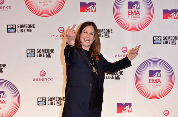 GLASGOW, SCOTLAND - NOVEMBER 09: (EDITORS NOTE: IMAGE CONTAINS PROFANITY) Ozzy Osbourne poses in the winners room at the MTV EMA's 2014 after winning the Global Icon award at The Hydro on November 9, 2014 in Glasgow, Scotland. (Photo by Anthony Harvey/Getty Images for MTV)