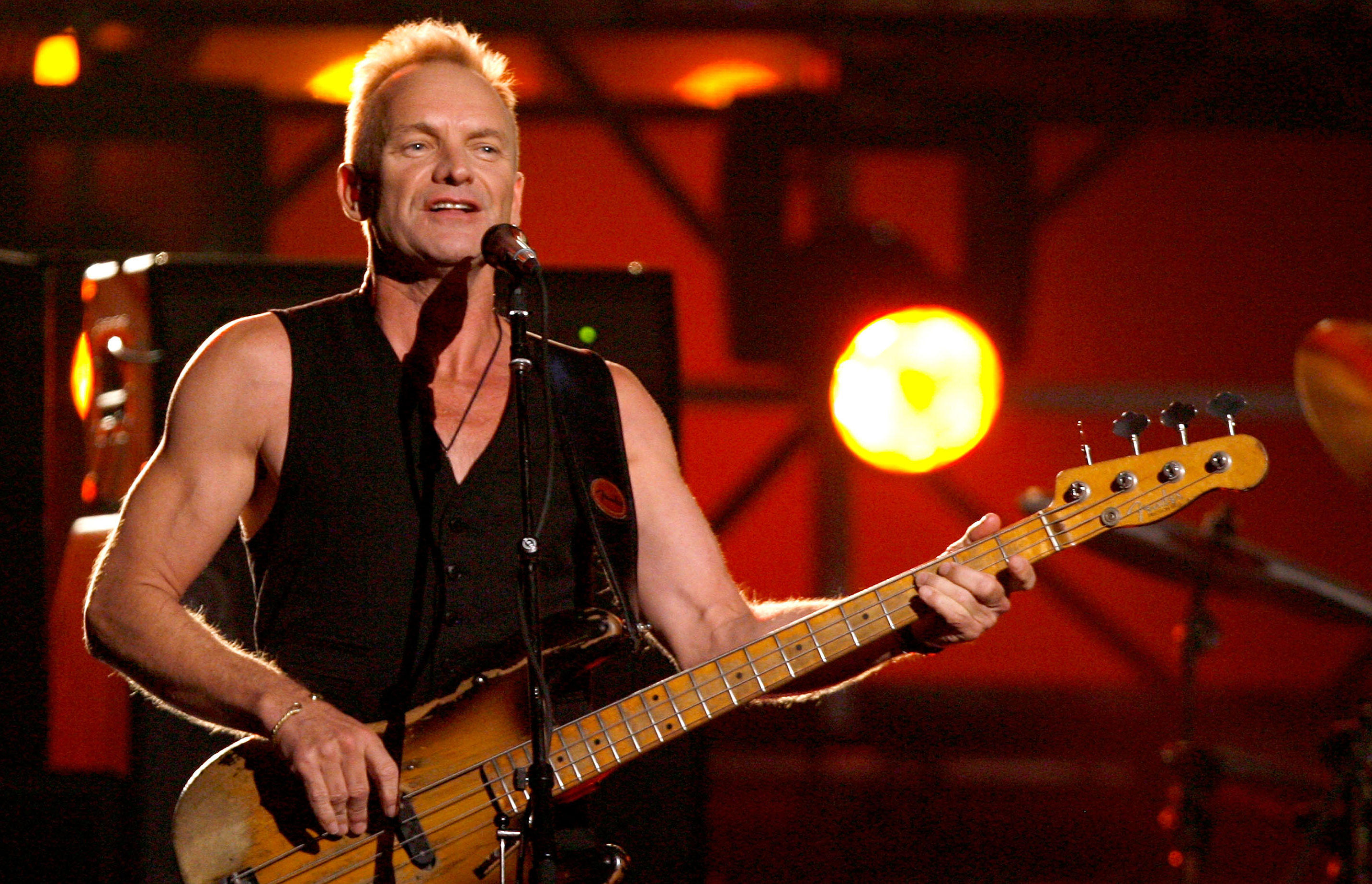 LOS ANGELES, CA - FEBRUARY 11: Musician Sting performs 'Roxanne' onstage with the band The Police opening the 49th Annual Grammy Awards at the Staples Center on February 11, 2007 in Los Angeles, California. (Photo by Kevin Winter/Getty Images)