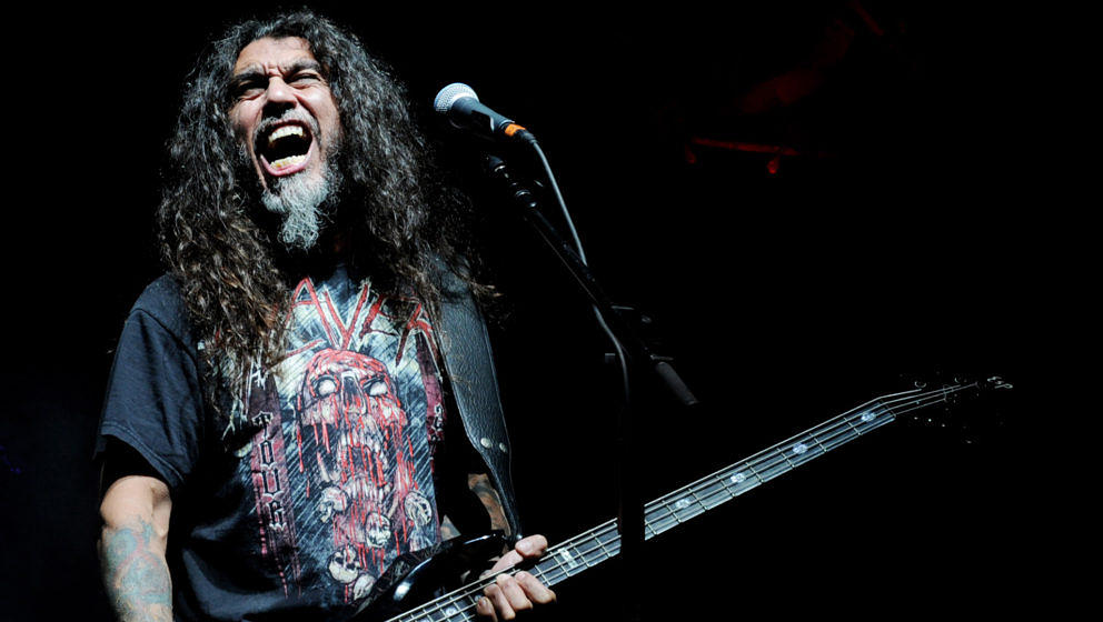 UNIVERSAL CITY, CA - OCTOBER 21:  Musician Tom Araya of Slayer performs at the Gibson Amphitheatre on October 21, 2010 in Uni