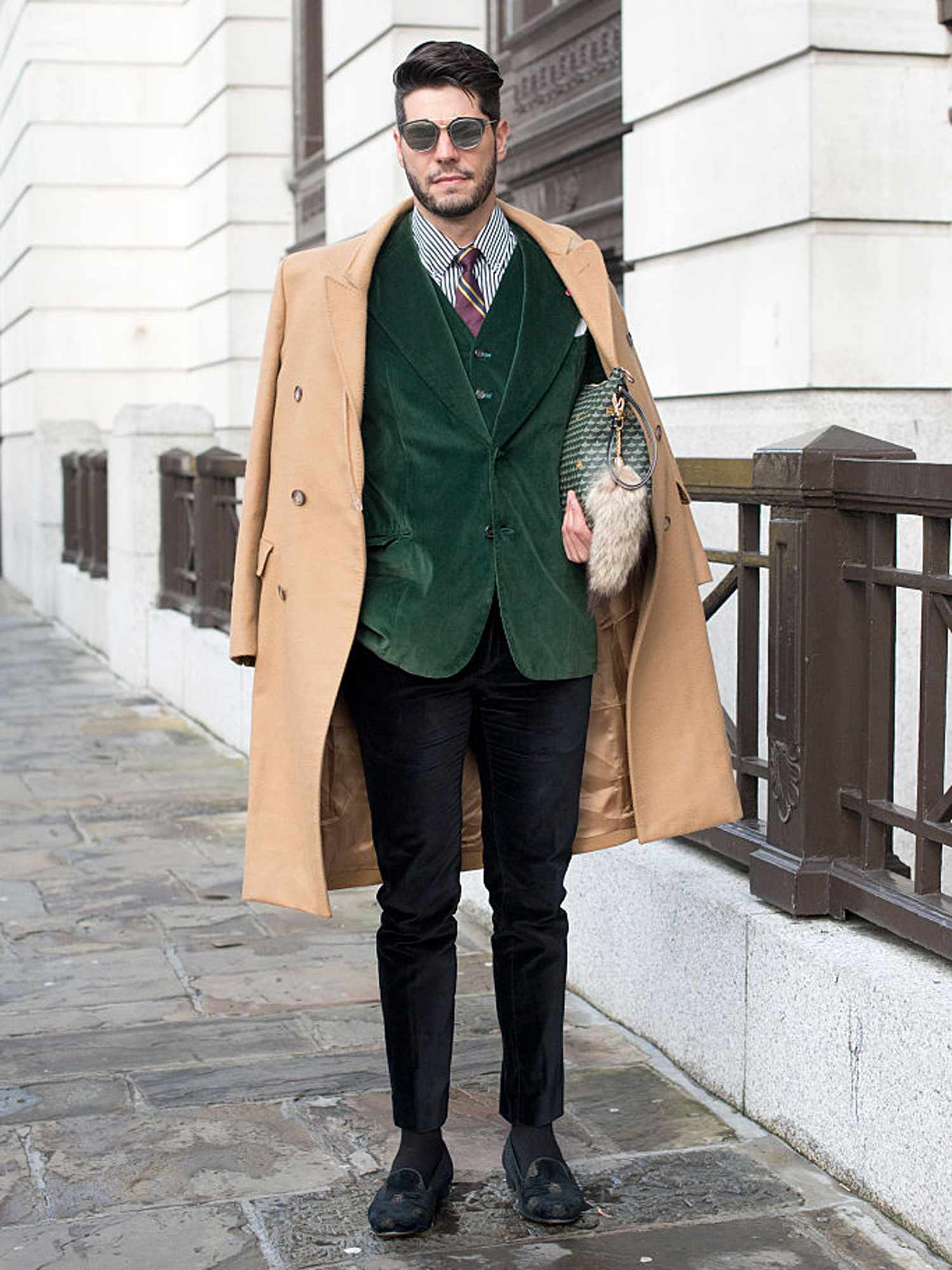 LONDON, ENGLAND - JANUARY 10: Fashion editor Kadu Dantas wearing a Margiella coat, Loja Vitor Alfaiate blazer and waistcoat, Zara trousers, Bluebird shoes, Fauve le Page clutch bag and Dior sunglasses on day 2 of London Collections: Men on January 10, 2015 in London, England. (Photo by Kirstin Sinclair/Getty Images)