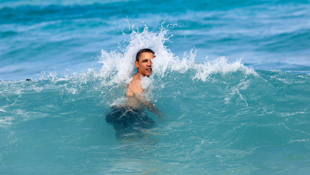 Jan. 1, 2012'A nice way to celebrate the New Year for the President was to jump in the ocean in his native state of Hawaii.