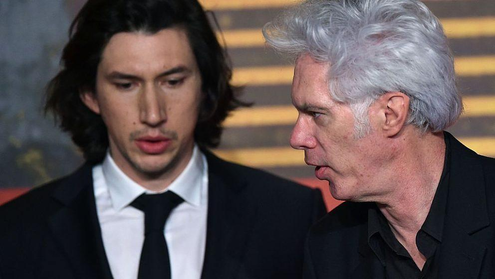US director Jim Jarmusch (R) arrive on May 16, 2016 with US actor Adam Driver for a press conference for the film 'Paterson'