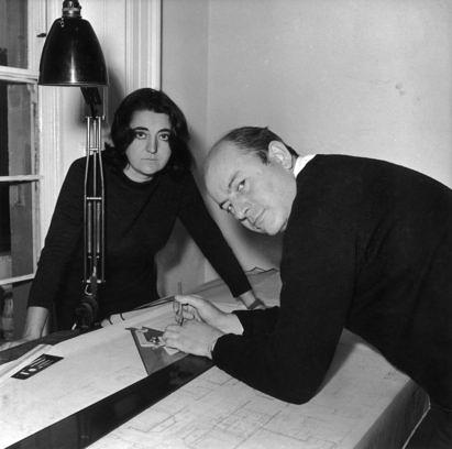 20th October 1961: Married architects Peter and Alison Smithson at work. (Photo by Davies/Evening Standard/Getty Images)