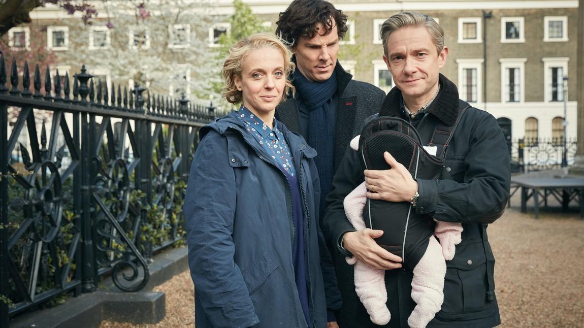 """Zuwachs für die Ermittler-Familie: Szene aus """"Sherlock""""."""