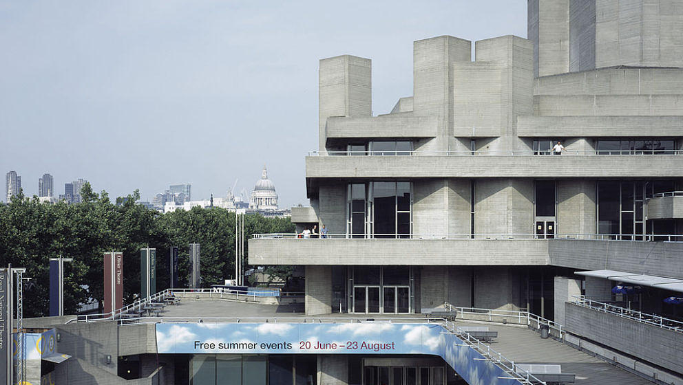 , United Kingdom, Architect Denys Lasdun, 1975, Royal National Theatre Summer Performance Theatre And Main Theatre Exterior (Photo By View Pictures/UIG via Getty Images)