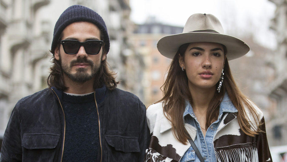 Giotto Calendoli and Patricia Manfield of The Atelier at the Antonio Marras show during the Milan Fashion Week Fall/Winter 20