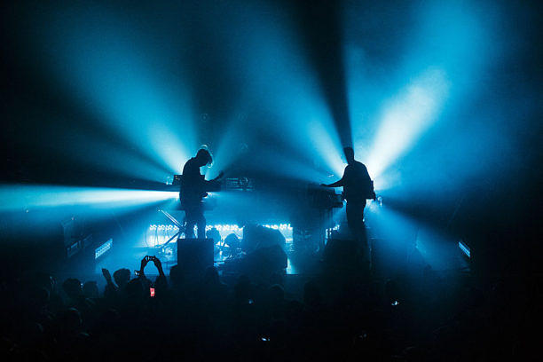 MANCHESTER, UNITED KINGDOM - MARCH 27: Dave Harrington and Nicolas Jaar of Darkside perform on stage at The Ritz, Manchester on March 27, 2014 in Manchester, United Kingdom. (Photo by Andrew Benge/Redferns via Getty Images)