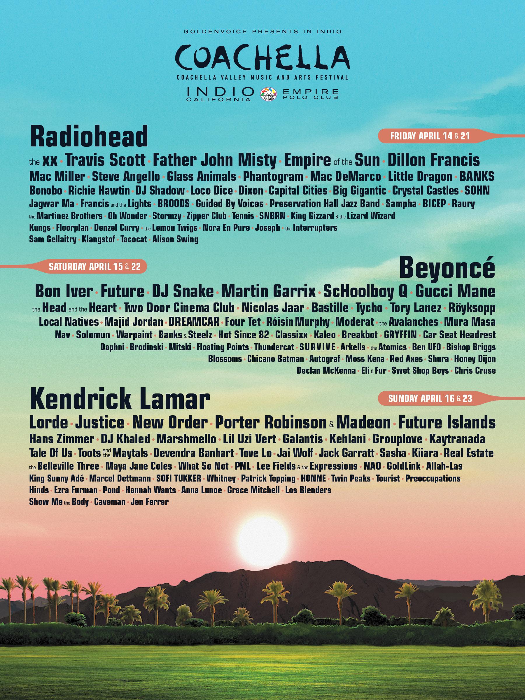 Das gesamte Line-up des Coachella-Festivals 2017