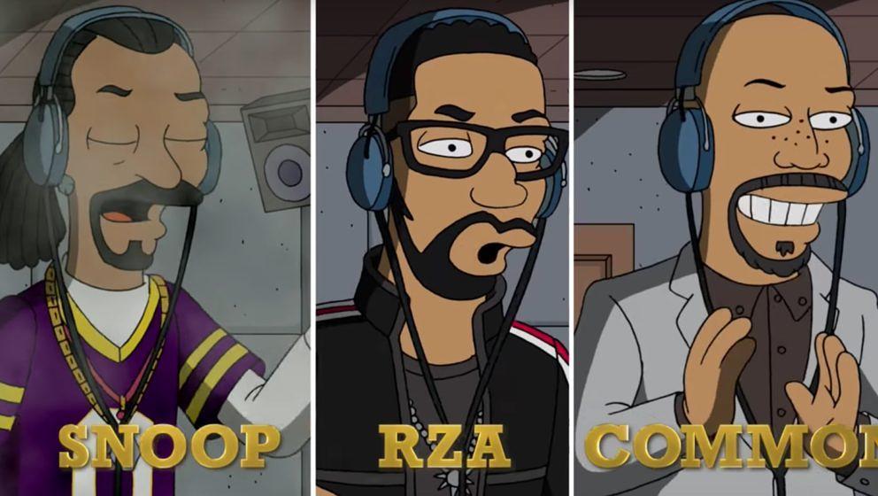 Prominente Gastrapper bei den Simpsons: RZA, Common und Snoop Dogg,