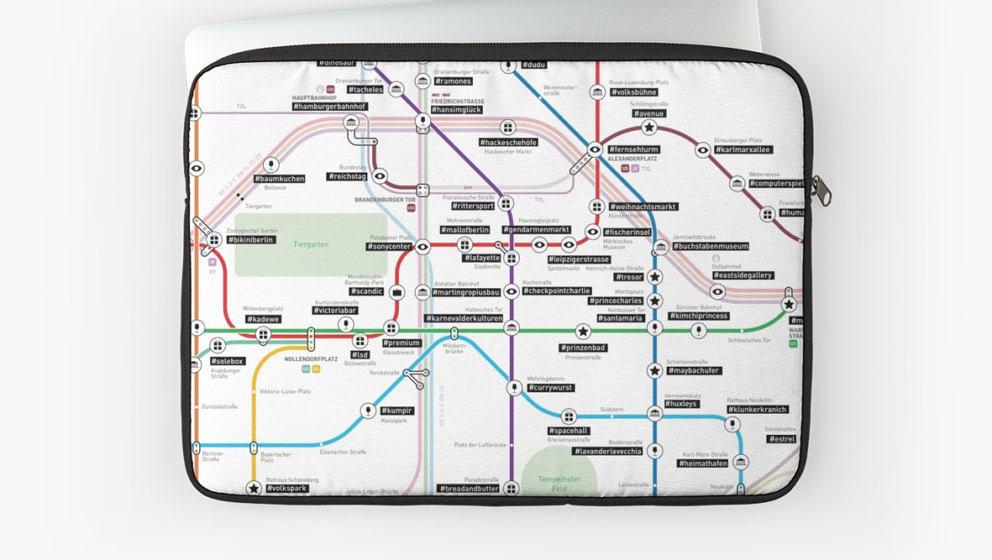 Auch als Laptoptasche verfügbar: der Berliner Instagram-Netzplan