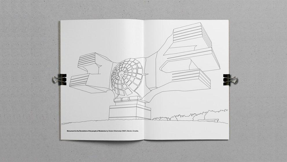 Runterkommen mit brutalistischer Architektur –das Malbuch von Marc Thomasset.
