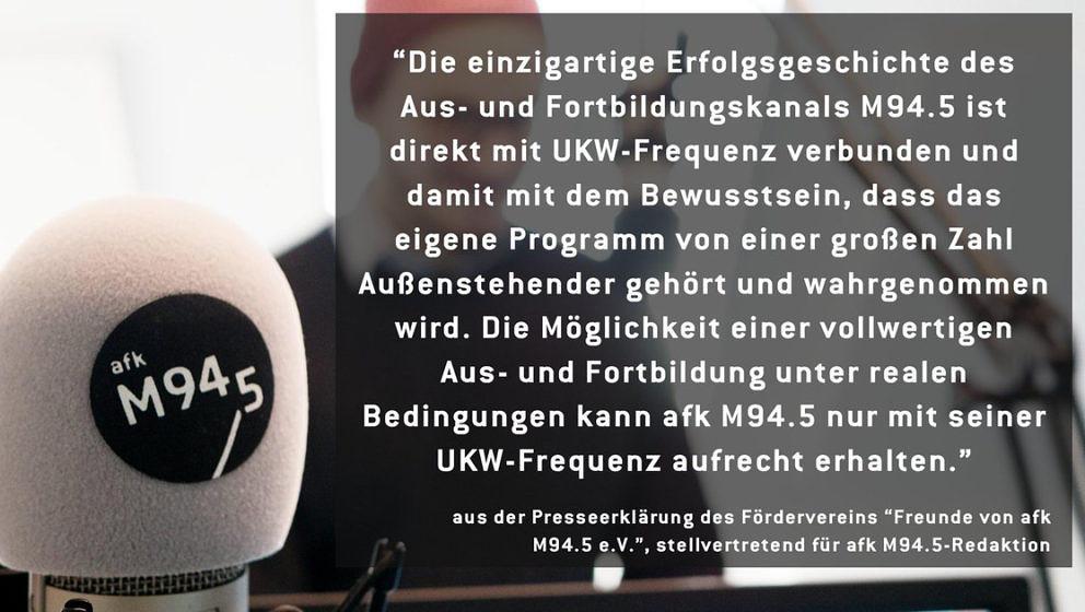 """Appell des Fördervereins """"Freunde von afk M94.5 e.V."""""""