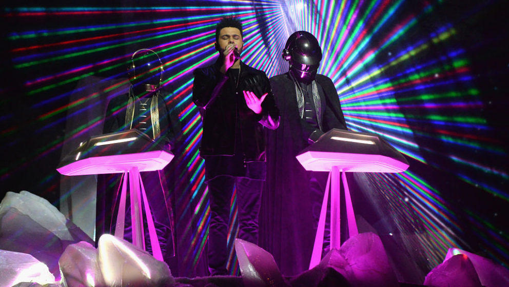 LOS ANGELES, CA - FEBRUARY 12: The Weeknd and Daft Punk perform onstage during The 59th GRAMMY Awards at STAPLES Center on February 12, 2017 in Los Angeles, California. (Photo by Kevin Mazur/Getty Images for NARAS)