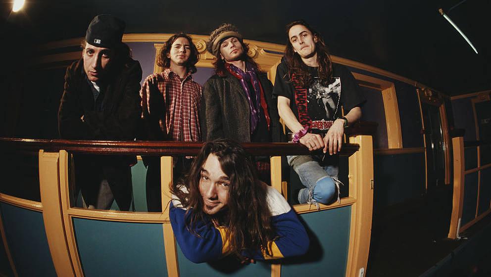 Pearl Jam 1992: Stone Gossard, Eddie Vedder, Jeff Ament, Mike McCready - und vorne Dave Abbruzzese