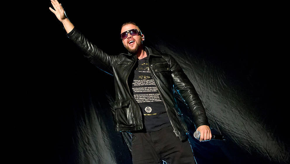 BERLIN, GERMANY - MARCH 24: German rapper Kollegah performs live during a concert at the Tempodrom on March 24, 2016 in Berli