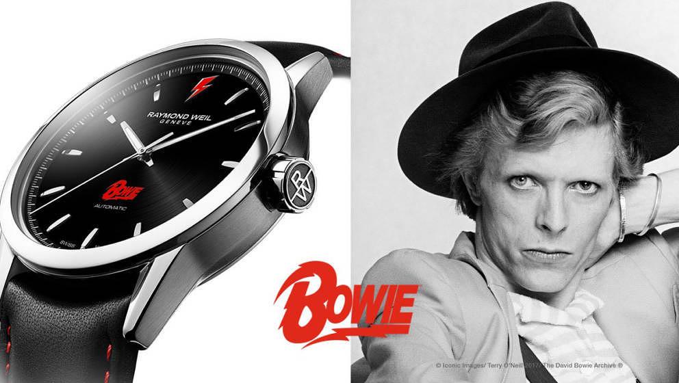 Die Luxusuhr ist dem ALADDIN-SANE-BLITZ und Bowies Gesicht auf der Rückseite versehen.