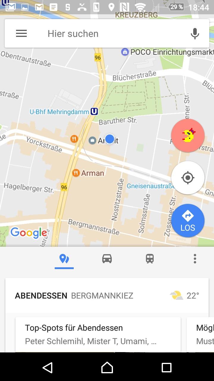 Der Maps-Startbildschirm mit dem unverwechselbaren Pac-Man-Zeichen rechts.
