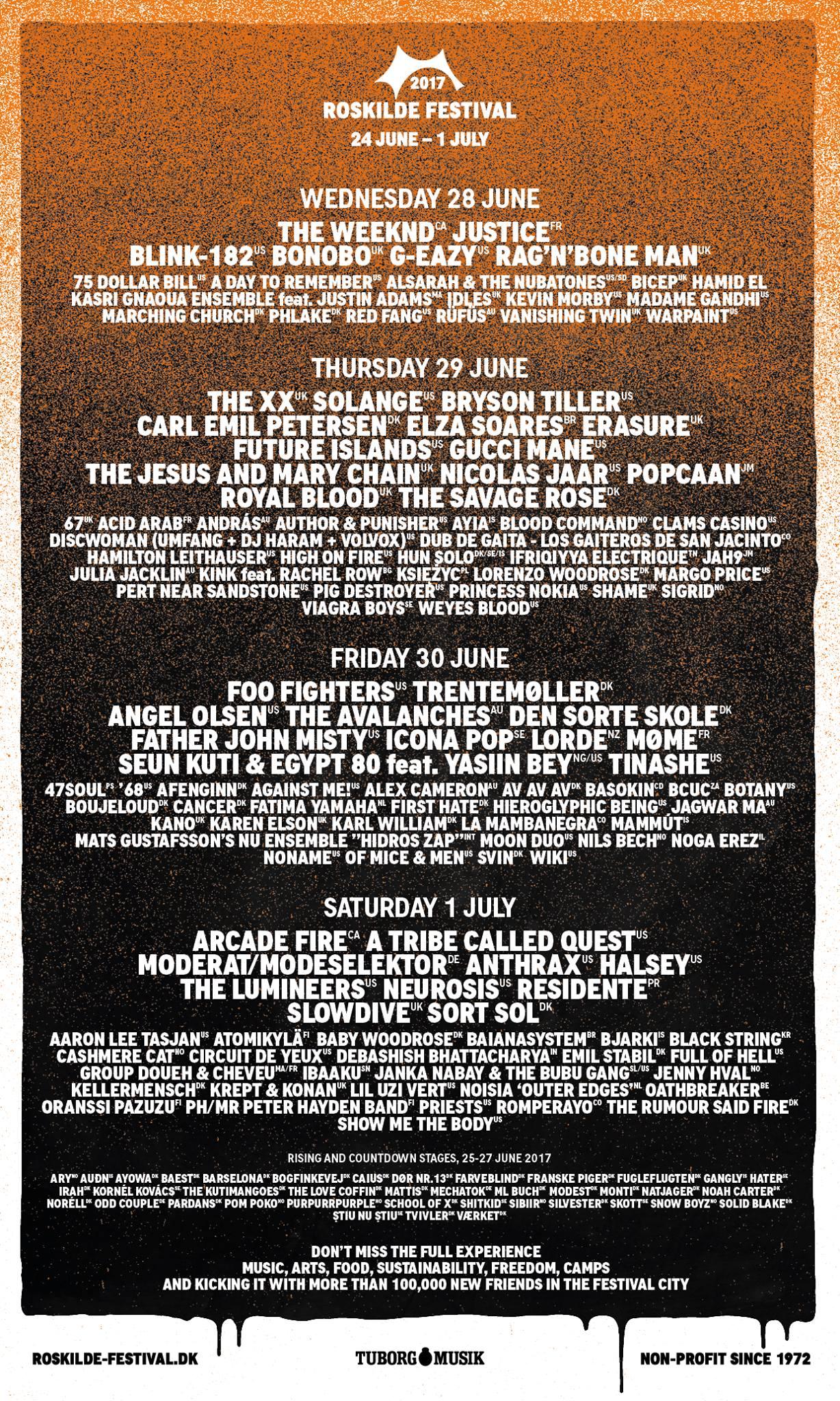 Das finale Line-up des Roskilde Festivals 2017