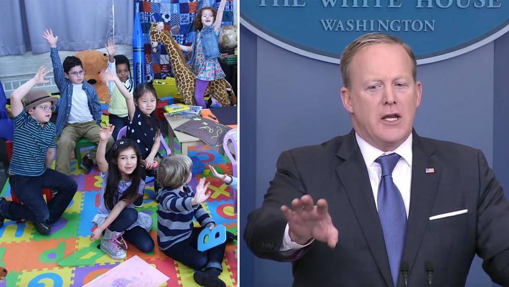 "Die Sendung ""The Daily Show"" hat den Pressesprecher der US-Regierung kurzerhand in den Kindergarten deportiert."