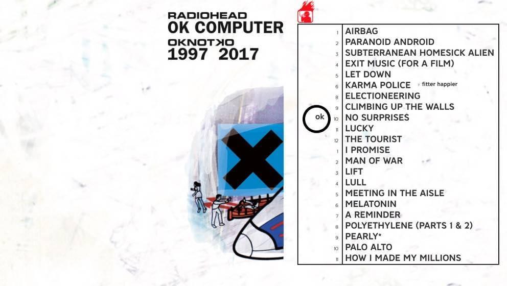 """So liest sich die Tracklist von Radioheads """"OK COMPUTER OKNOTOK 1997 2017"""""""