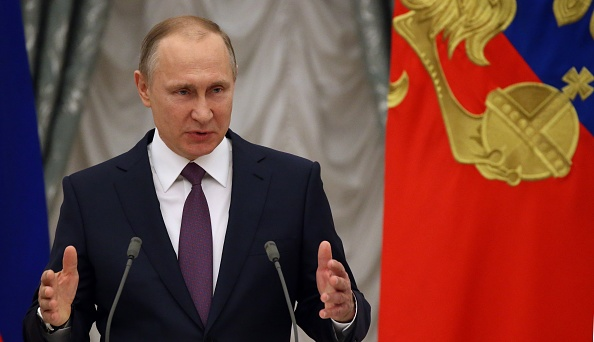 MOSCOW, RUSSIA - APRIL,28 (RUSSIA OUT) Russian President Vladimir Putin attends the award ceremony at the Kremlin, April, 28,