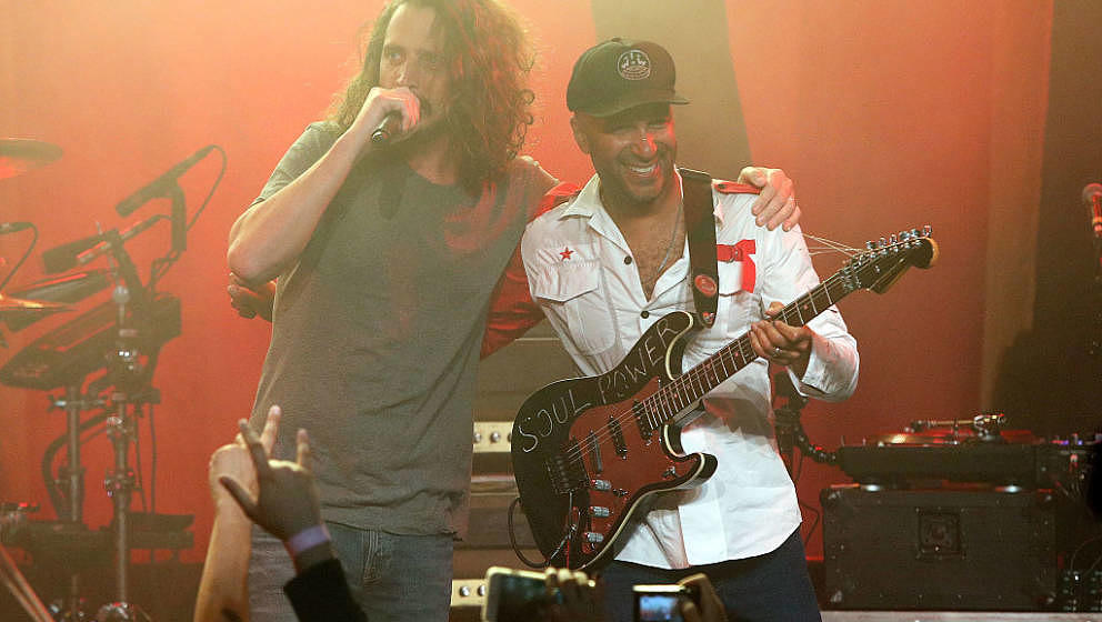 LOS ANGELES, CA - JANUARY 20:  Chris Cornell and Tom Morello of Audioslave perform during the Prophets Of Rage And Friends' A