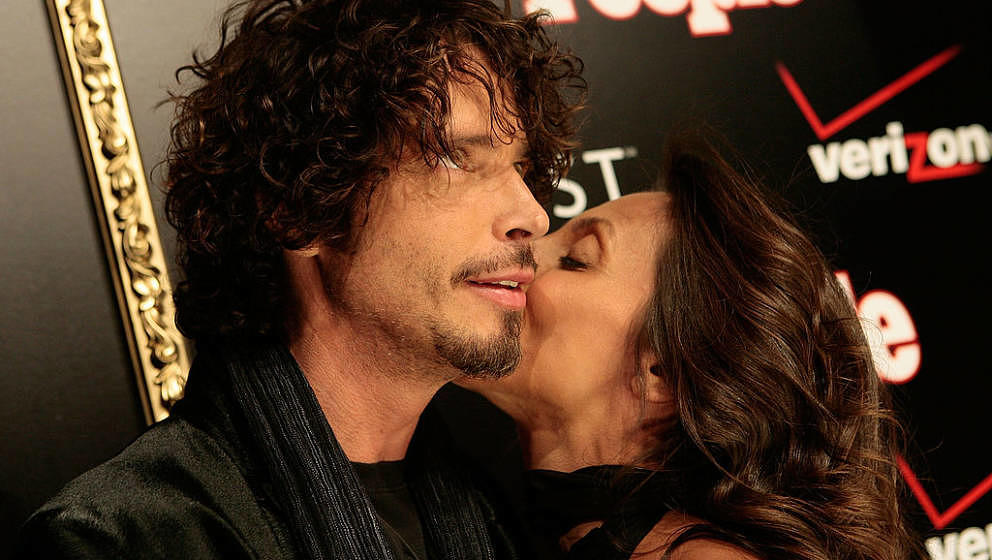 Singer Chris Cornell and wife Vicky Cornell attends the Verizon Wireless and People Magazine party to honor Timbaland at the