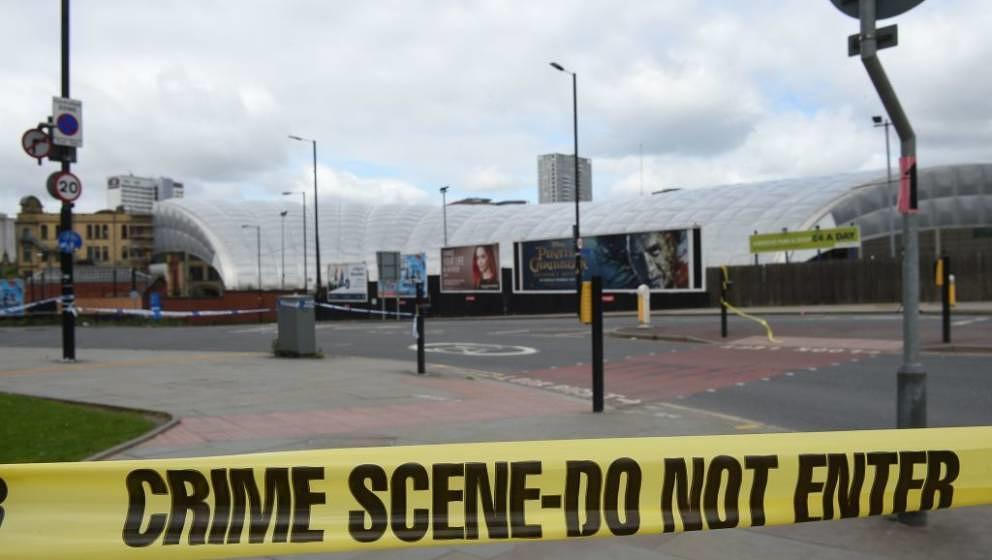 Schreckliche Stille: Die Manchester Arena am Tag nach dem Anschlag am 22. Mai 2017