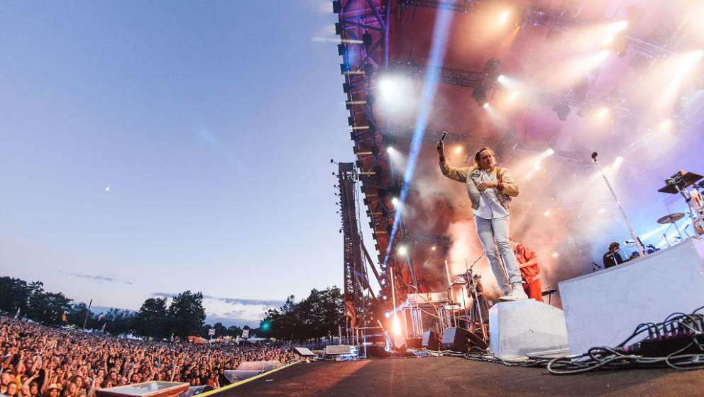 ROSKILDE, DENMARK - JULY 01: Win Butler of Arcade Fire performs on stage at Roskilde Festival on July 1, 2017 in Roskilde, De