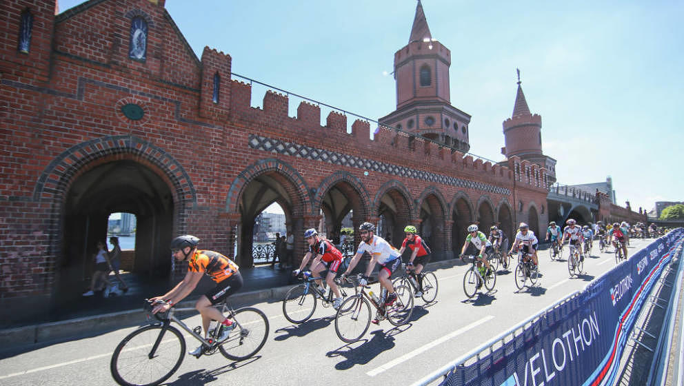 BERLIN, GERMANY - JUNE 18:  (EDITORS NOTE: This image was altered using a digital filter)  Riders compete in the Velothon Ber