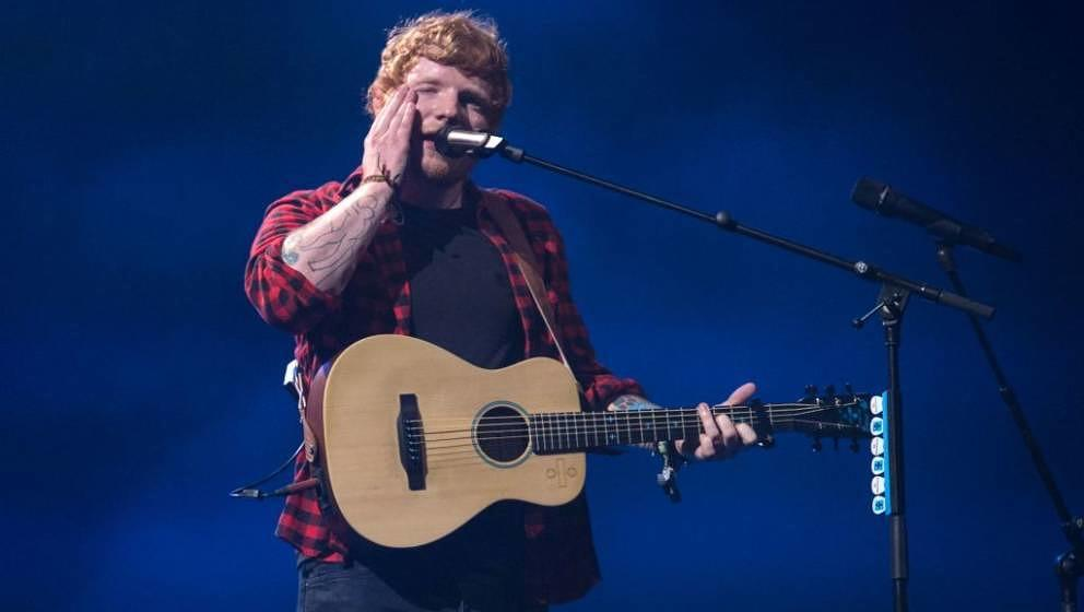 Ed Sheeran performs on the Pyramid Stage at the Glastonbury Festival of Music and Performing Arts on Worthy Farm near the vil