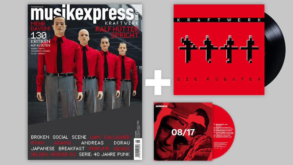 Was für ein Paket: Der Musikexpress 08/2017 mit Kraftwerk-Vinyl sowie mit CD